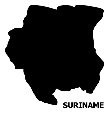 Vector Map of Suriname with caption. Map of Suriname is isolated on a white background. Simple flat geographic map.