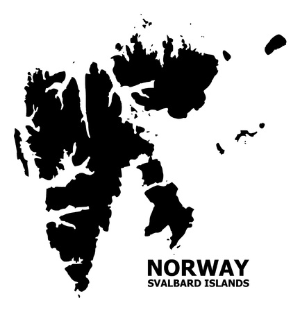 Vector Map of Svalbard Islands with name. Map of Svalbard Islands is isolated on a white background. Simple flat geographic map. Illustration