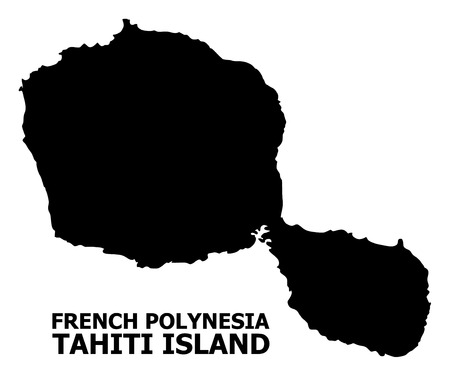 Vector Map of Tahiti Island with name. Map of Tahiti Island is isolated on a white background. Simple flat geographic map.