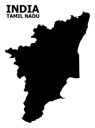 Vector Map of Tamil Nadu State with name. Map of Tamil Nadu State is isolated on a white background. Simple flat geographic map. Illustration