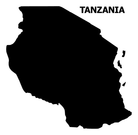 Vector Map of Tanzania with title. Map of Tanzania is isolated on a white background. Simple flat geographic map.