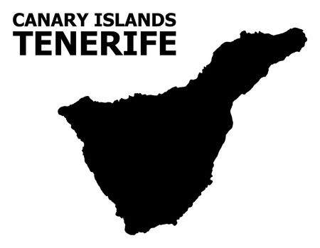 Vector Map of Tenerife Island with name. Map of Tenerife Island is isolated on a white background. Simple flat geographic map.