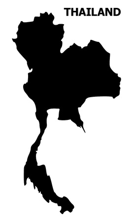 Vector Map of Thailand with caption. Map of Thailand is isolated on a white background. Simple flat geographic map.