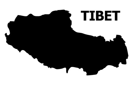 Vector Map of Tibet with name. Map of Tibet is isolated on a white background. Simple flat geographic map. Ilustração