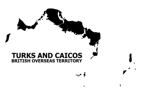 Vector Map of Turks and Caicos Islands with caption. Map of Turks and Caicos Islands is isolated on a white background. Simple flat geographic map.