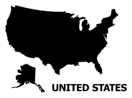 Vector Map of USA and Alaska with name. Map of USA and Alaska is isolated on a white background. Simple flat geographic map.