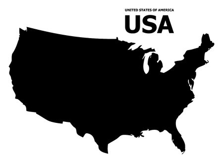 Vector Map of USA with caption. Map of USA is isolated on a white background. Simple flat geographic map.