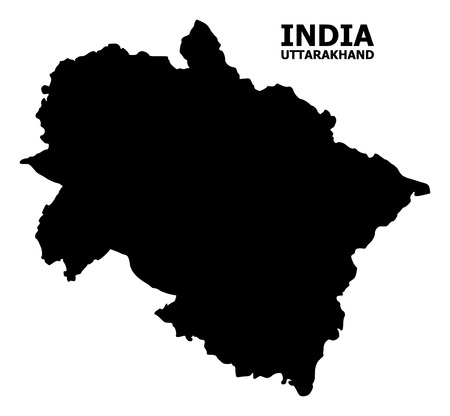 Vector Map of Uttarakhand State with name. Map of Uttarakhand State is isolated on a white background. Simple flat geographic map.