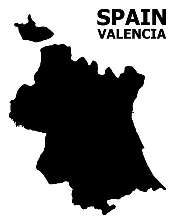 Vector Map of Valencia Province with caption. Map of Valencia Province is isolated on a white background. Simple flat geographic map.