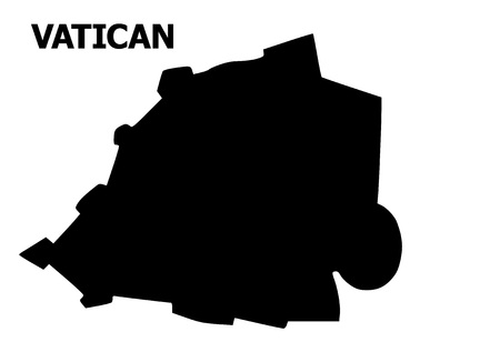 Vector Map of Vatican with title. Map of Vatican is isolated on a white background. Simple flat geographic map.