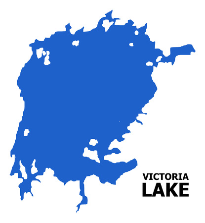 Vector Map of Victoria Lake with title. Map of Victoria Lake is isolated on a white background. Simple flat geographic map.
