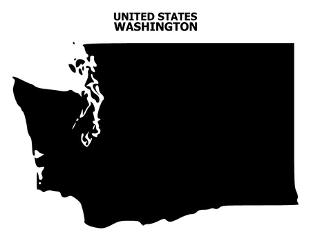 Vector Map of Washington State with caption. Map of Washington State is isolated on a white background. Simple flat geographic map. Illustration