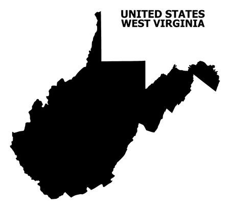 Carte vectorielle de l'État de Virginie-Occidentale avec légende. La carte de l'État de Virginie-Occidentale est isolée sur fond blanc. Carte géographique simple et plate.