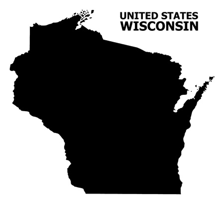 Vector Map of Wisconsin State with name. Map of Wisconsin State is isolated on a white background. Simple flat geographic map.