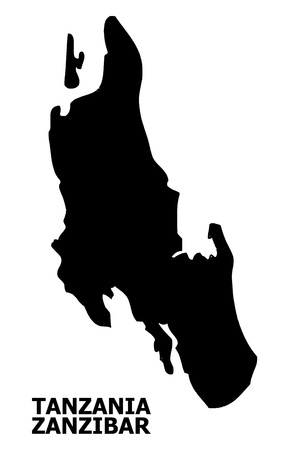 Vector Map of Zanzibar Island with title. Map of Zanzibar Island is isolated on a white background. Simple flat geographic map.
