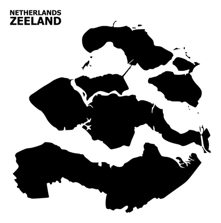 Vector Map of Zeeland Province with caption. Map of Zeeland Province is isolated on a white background. Simple flat geographic map. Ilustrace