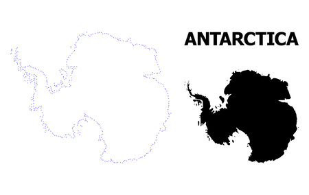 Vector contour Map of Antarctica with caption. Map of Antarctica is isolated on a white background. Simple flat dotted geographic map template.