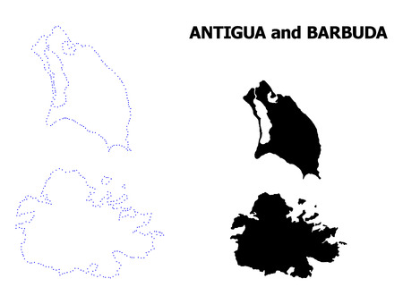 Vector contour Map of Antigua and Barbuda with title. Map of Antigua and Barbuda is isolated on a white background. Simple flat dotted geographic map template. Illustration