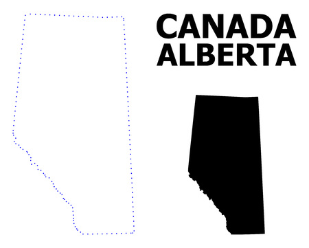 Vector contour Map of Alberta Province with title. Map of Alberta Province is isolated on a white background. Simple flat dotted geographic map template.