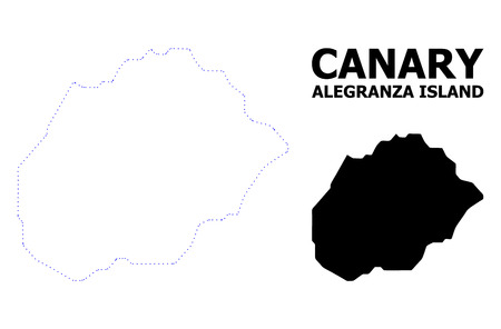Vector contour Map of Alegranza Island with title. Map of Alegranza Island is isolated on a white background. Simple flat dotted geographic map template.