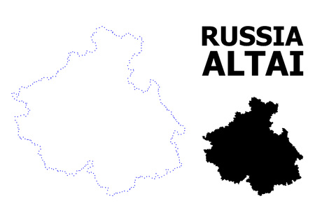 Vector contour Map of Altai Republic with name. Map of Altai Republic is isolated on a white background. Simple flat dotted geographic map template. 矢量图像