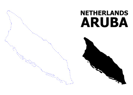 Vector contour Map of Aruba Island with name. Map of Aruba Island is isolated on a white background. Simple flat dotted geographic map template. Illustration