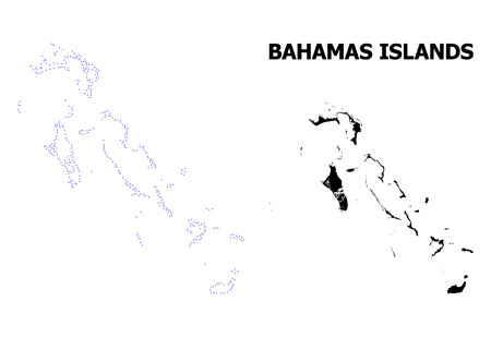 Vector contour Map of Bahamas Islands with title. Map of Bahamas Islands is isolated on a white background. Simple flat dotted geographic map template. Illustration