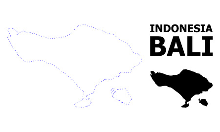Vector contour Map of Bali Island with name. Map of Bali Island is isolated on a white background. Simple flat dotted geographic map template.