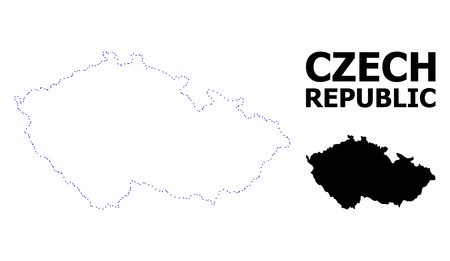 Vector contour Map of Czech Republic with title. Map of Czech Republic is isolated on a white background. Simple flat dotted geographic map template.