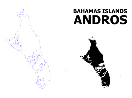Vector contour Map of Bahamas - Andros Island with caption. Map of Bahamas - Andros Island is isolated on a white background. Simple flat dotted geographic map template. Illustration