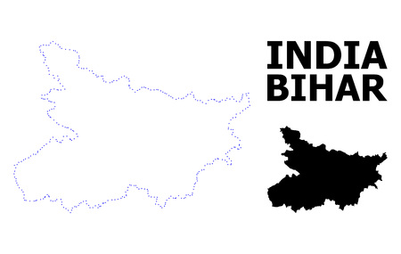 Vector contour Map of Bihar State with caption. Map of Bihar State is isolated on a white background. Simple flat dotted geographic map template. Illustration