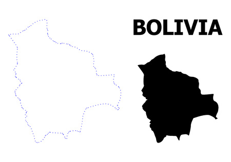 Vector contour Map of Bolivia with title. Map of Bolivia is isolated on a white background. Simple flat dotted geographic map template.