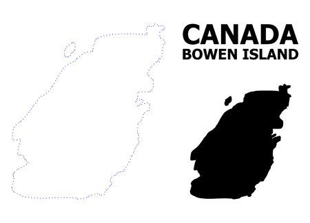 Vector contour Map of Bowen Island with caption. Map of Bowen Island is isolated on a white background. Simple flat dotted geographic map template. 向量圖像
