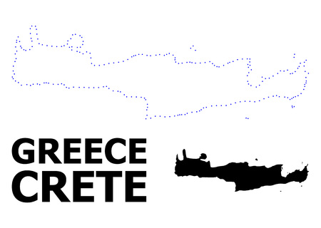 Vector contour Map of Crete Island with name. Map of Crete Island is isolated on a white background. Simple flat dotted geographic map template. Illustration