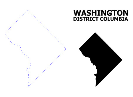 Vector contour Map of District Columbia with name. Map of District Columbia is isolated on a white background. Simple flat dotted geographic map template.