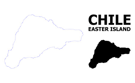 Vector contour Map of Easter Island with name. Map of Easter Island is isolated on a white background. Simple flat dotted geographic map template. Illustration