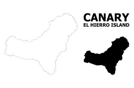 Vector contour Map of El Hierro Island with title. Map of El Hierro Island is isolated on a white background. Simple flat dotted geographic map template.