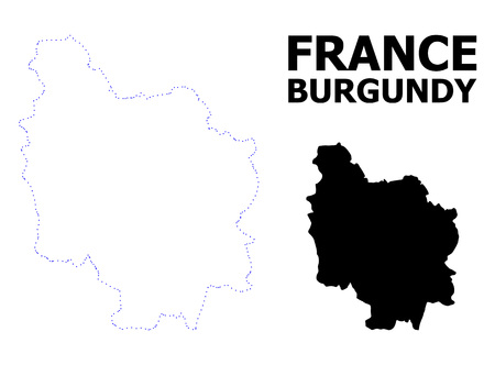 Vector contour Map of Burgundy Province with name. Map of Burgundy Province is isolated on a white background. Simple flat dotted geographic map template.