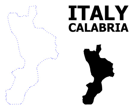 Vector contour Map of Calabria region with name. Map of Calabria region is isolated on a white background. Simple flat dotted geographic map template.