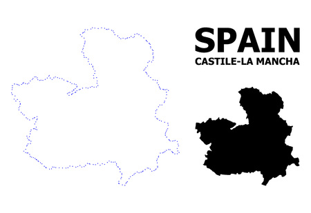 Vector contour Map of Castile-La Mancha Province with name. Map of Castile-La Mancha Province is isolated on a white background. Simple flat dotted geographic map template. Ilustração