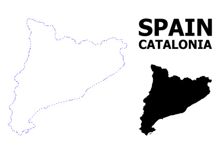 Vector contour Map of Catalonia with caption. Map of Catalonia is isolated on a white background. Simple flat dotted geographic map template. Illustration