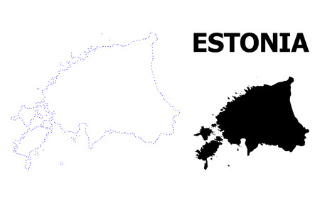 Vector contour Map of Estonia with name. Map of Estonia is isolated on a white background. Simple flat dotted geographic map template.
