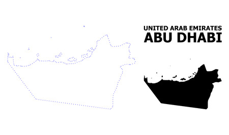 Vector contour Map of Abu Dhabi Emirate with title. Map of Abu Dhabi Emirate is isolated on a white background. Simple flat dotted geographic map template. Illustration