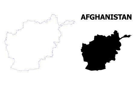 Vector contour Map of Afghanistan with name. Map of Afghanistan is isolated on a white background. Simple flat dotted geographic map template.