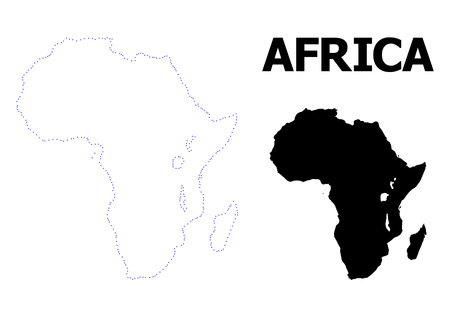 Vector contour Map of Africa with name. Map of Africa is isolated on a white background. Simple flat dotted geographic map template.