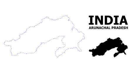 Vector contour Map of Arunachal Pradesh State with caption. Map of Arunachal Pradesh State is isolated on a white background. Simple flat dotted geographic map template.