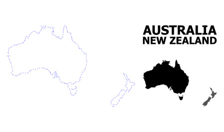 Vector contour Map of Australia and New Zealand with caption. Map of Australia and New Zealand is isolated on a white background. Simple flat dotted geographic map template.