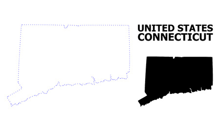 Vector contour Map of Connecticut State with title. Map of Connecticut State is isolated on a white background. Simple flat dotted geographic map template. Illustration