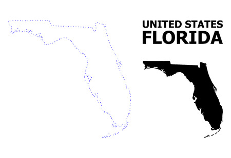 Vector contour Map of Florida State with caption. Map of Florida State is isolated on a white background. Simple flat dotted geographic map template. Illustration