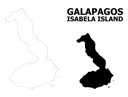 Vector contour Map of Galapagos - Isabela Island with caption. Map of Galapagos - Isabela Island is isolated on a white background. Simple flat dotted geographic map template.